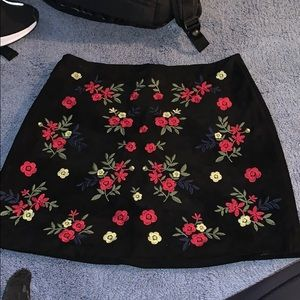 Floral suede skirt